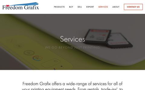 Screenshot of Services Page freedomgrafix.com - Services — Freedom Grafix - captured Nov. 6, 2018