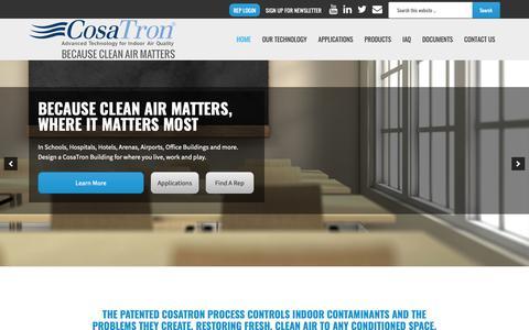 Screenshot of Home Page cosatron.com - CosaTron Air Purification Systems - captured Nov. 5, 2018