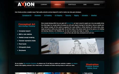 Screenshot of Services Page axion-studios.com - Axion Studios - Services - captured Oct. 4, 2014