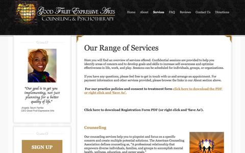 Screenshot of Services Page goodfruitexpressivearts.com - Counseling and Psychotherapy Services - captured Oct. 1, 2014