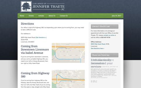 Screenshot of Maps & Directions Page thaetelaw.com - Directions - captured July 19, 2017