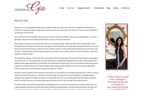 Screenshot of About Page designsbygia.net - About Gia - Designs by Gia - captured May 22, 2018