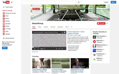 Screenshot of YouTube Page youtube.com - DessoGroup  - YouTube - captured Oct. 27, 2014