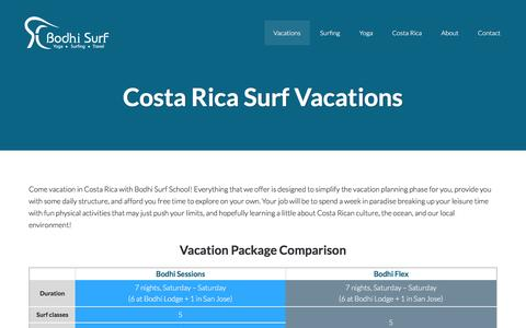 Screenshot of Pricing Page bodhisurfschool.com - Costa Rica Surf Vacations | Surfing Vacations Uvita, Costa Rica - captured Jan. 6, 2016
