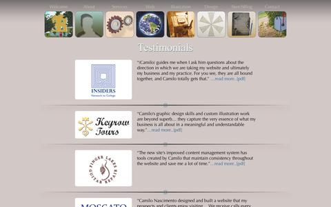 Screenshot of Testimonials Page camilographics.com - Testimonials - Camilo Graphics and Web Solutions - Camilo Graphics and Web Solutions - captured Oct. 1, 2014