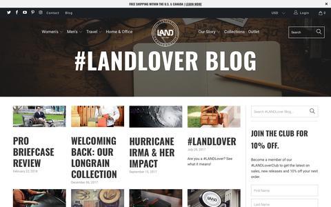Screenshot of Press Page landleather.com - #LANDLover Blog - LAND Leather - captured Sept. 25, 2018