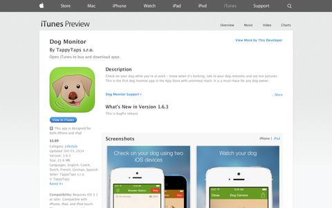 Screenshot of iOS App Page apple.com - Dog Monitor on the App Store on iTunes - captured Oct. 29, 2014