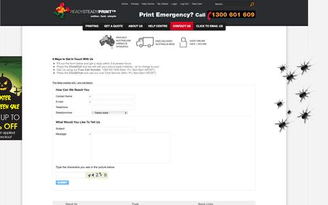 Screenshot of Contact Page Support Page readysteadyprint.com.au - Contact Us - Ready Steady Print - captured Oct. 25, 2014