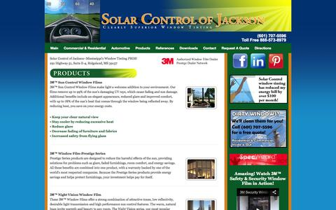 Screenshot of Products Page solarcontroljackson.com - Products | Solar Control of Jackson Window Tinting - captured Oct. 7, 2014