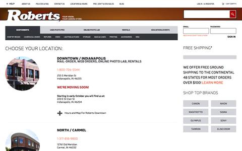 Screenshot of Locations Page robertscamera.com - Our Locations and Hours - captured Sept. 22, 2014