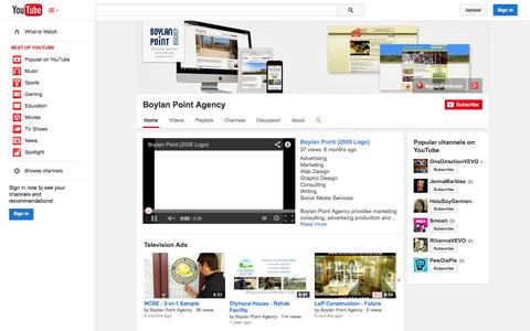 Screenshot of YouTube Page youtube.com - Boylan Point Agency  - YouTube - captured Oct. 25, 2014