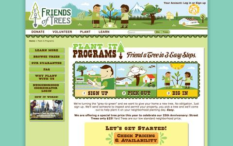 Screenshot of Signup Page friendsoftrees.org - Plant It Programs - captured Sept. 19, 2014