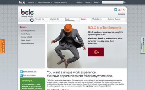 Screenshot of Jobs Page bclc.com - Careers - captured Sept. 23, 2014