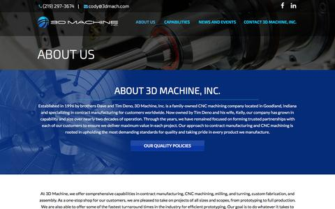 Screenshot of About Page 3dmach.com - CNC Machining Company & Shop, Turning, Laser, Water Jet: 3D Machine - captured Nov. 28, 2016