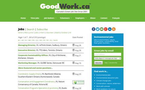 Screenshot of Jobs Page goodwork.ca - Environmental Jobs, Green Jobs, Conservation Jobs   GoodWork.ca - captured Aug. 29, 2017
