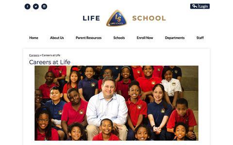 Screenshot of Jobs Page lifeschools.net - Careers - District Departments - Life School - captured July 19, 2018