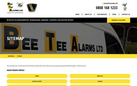 Screenshot of Site Map Page beeteealarms.com - Sitemap | Bee Tee Alarms LTD - captured Oct. 5, 2018