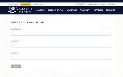 Screenshot of Signup Page augustineinstitute.org - Signup - captured July 27, 2016