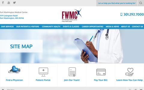 Screenshot of Site Map Page fortwashingtonmc.org - Site Map   Fort Washington Medical Center - captured Oct. 11, 2018