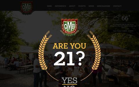 Screenshot of Home Page oldemeckbrew.com - The Olde Mecklenburg Brewery, Biergarten and Brauhaus - captured Sept. 19, 2015