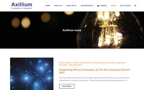 Screenshot of Press Page axillium.com - Innovation News & Grant Funding Insights from Axillium - captured Oct. 9, 2017