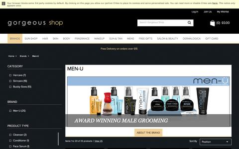 Screenshot of Menu Page gorgeousshop.com - Men-U Male Grooming Products With Moisturiser, Cleanser & More | Gorgeous Shop - captured June 29, 2017