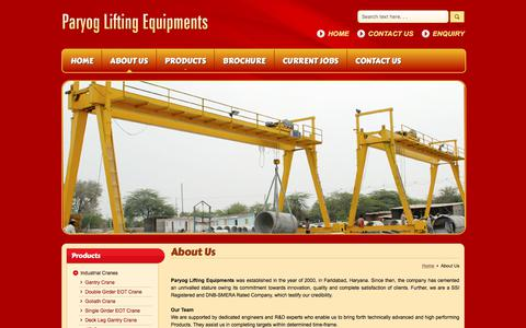 Screenshot of About Page paryoglifting.in - Industrial Eot Cranes,Wholesale Gantry Crane,Goliath Crane Exporter - captured July 9, 2017