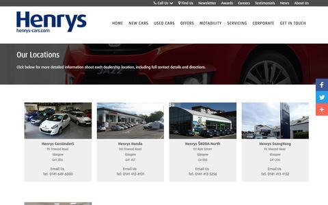 Screenshot of Locations Page henrys-cars.com - Find Us | Glasgow | Henrys Cars - captured Nov. 6, 2016