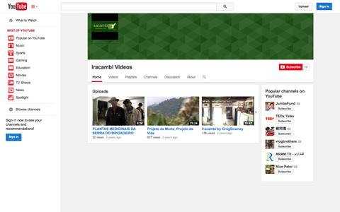 Screenshot of YouTube Page youtube.com - Iracambi Videos  - YouTube - captured Oct. 23, 2014