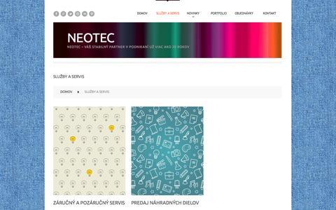 Screenshot of Services Page neotec.sk - Služby a servis  |  Neotec - captured Oct. 9, 2014