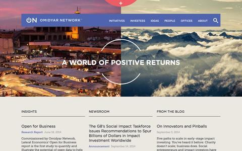 Screenshot of Home Page omidyar.com - Home | Omidyar Network - captured Sept. 23, 2014