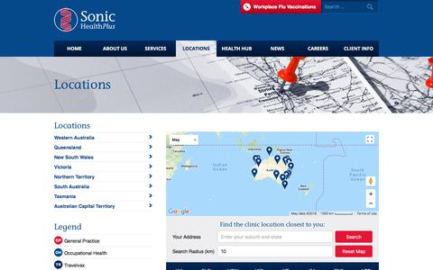 Screenshot of Locations Page sonichealthplus.com.au - Local Doctors Clinic Locations | Sonic HealthPlus - captured Feb. 15, 2018
