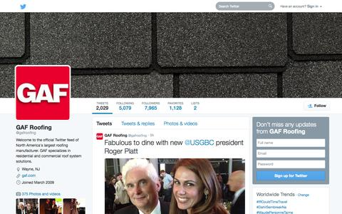 Screenshot of Twitter Page twitter.com - GAF Roofing (@gafroofing) | Twitter - captured Oct. 22, 2014