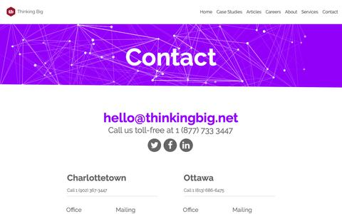 Screenshot of Contact Page thinkingbig.net - Thinking Big Digital Services - Contact - captured Sept. 27, 2018