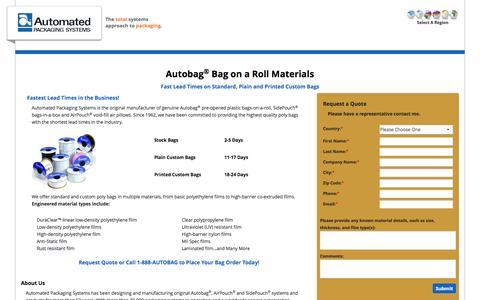 Screenshot of Landing Page autobag.com - Autobag Bag on a Roll Materials US - captured Sept. 8, 2016