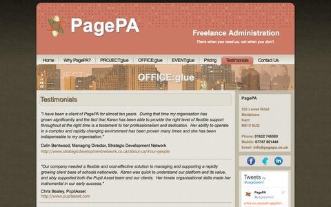 Screenshot of Testimonials Page pagepa.co.uk - Testimonials - captured Oct. 18, 2016