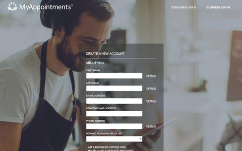 Screenshot of Signup Page myappointments.com - Create Business Account - MyAppointments - captured July 8, 2018