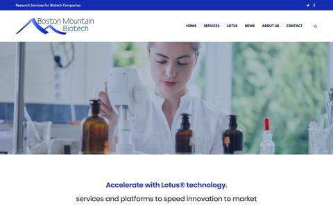 Screenshot of Home Page mtnbio.com - Homepage - Boston Mountain Biotech - captured Oct. 10, 2017