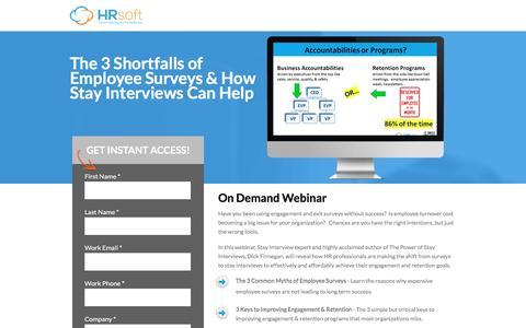 Screenshot of Landing Page hrsoft.com - 3 Shortfalls of Employee Surveys & How Stay Interviews Can Help - captured Sept. 6, 2016