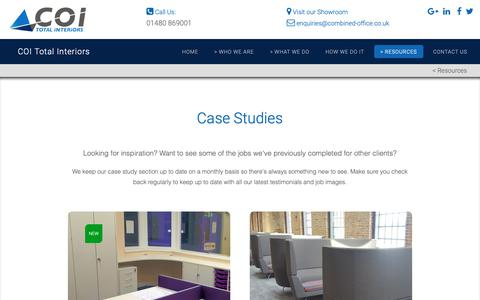Screenshot of Case Studies Page combined-office.co.uk - Case Studies - COI Total Interiors - captured Sept. 29, 2018