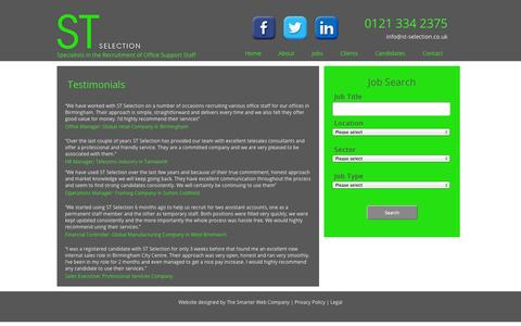 Screenshot of Testimonials Page st-selection.co.uk - Testimonials » Home - captured Oct. 3, 2014