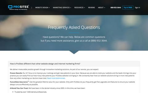 Screenshot of FAQ Page prosites.com - Frequently Asked Questions about Dental Websites - captured Sept. 1, 2016