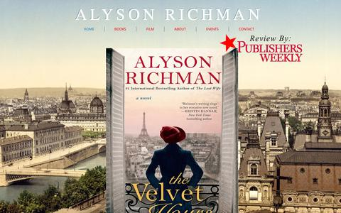 Screenshot of Home Page alysonrichman.com - Alyson Richman The Velvet Hours   International Bestselling Author - captured Jan. 30, 2017