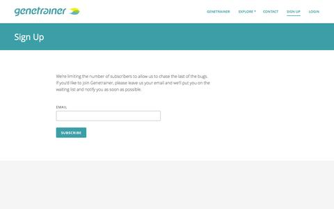 Screenshot of Signup Page genetrainer.com - Genetrainer - Genetically guided fitness - captured Oct. 28, 2014