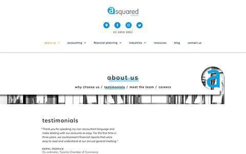 Screenshot of Testimonials Page asquaredadvisers.com.au - Testimonials - A Squared Advisers - captured July 21, 2018