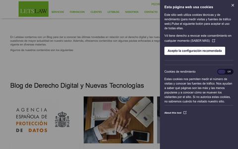Screenshot of Blog letslaw.es - Blog de Derecho Digital y Nuevas Tecnologías - LetsLaw - captured July 18, 2018