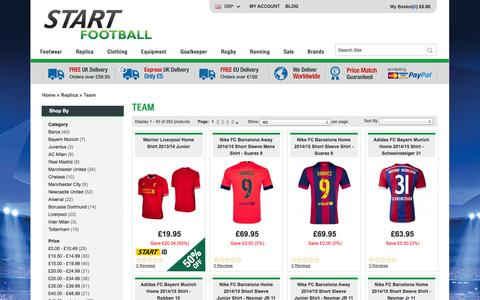 Screenshot of Team Page startfootball.co.uk - Teams | Football Products at Discount Prices | Start Football | Start Football - captured Oct. 29, 2014