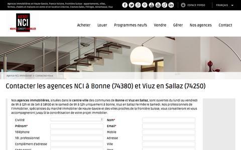 Screenshot of Contact Page nci-immobilier.com - Contacter notre agence immobilière - captured Nov. 20, 2016