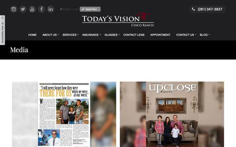 Screenshot of Press Page tvcincoranch.com - Today's Vision Cinco Ranch - Optometrist in Katy, Texas - captured Oct. 19, 2018