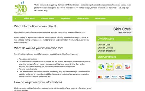 Screenshot of Privacy Page skinmdnatural.com - Privacy policy - Skin MD Natural - captured Feb. 13, 2016